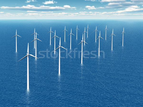 Offshore windpark computer gegenereerde 3d illustration Stockfoto © MIRO3D