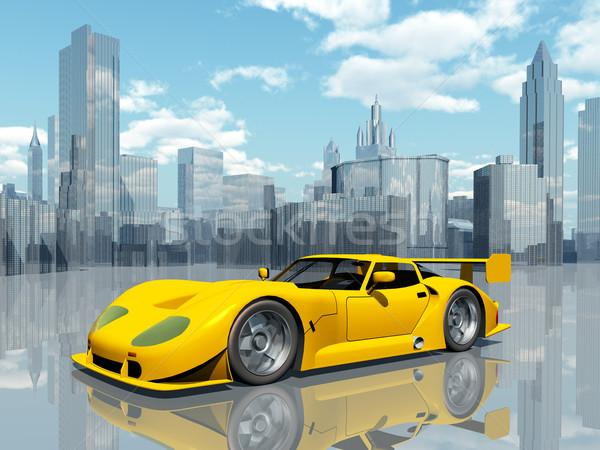 Gyönyörű sportautó számítógép generált 3d illusztráció citromsárga Stock fotó © MIRO3D