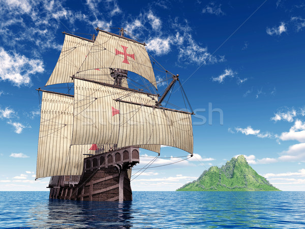 Portuguese Caravel of the Fifteenth Century Stock photo © MIRO3D