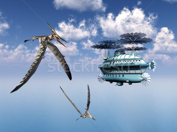 Fantasy Airship and the Pterosaur Pteranodon Stock photo © MIRO3D