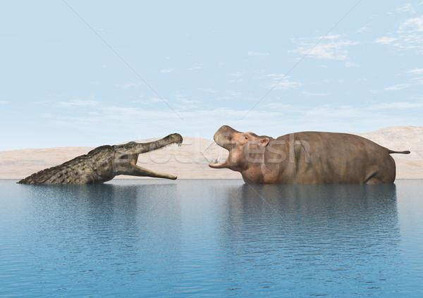 Krokodil víziló számítógép generált 3d illusztráció tó Stock fotó © MIRO3D