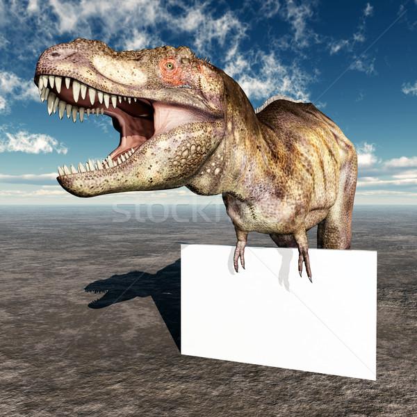 Tyrannosaurus Rex with Advertising Sign Stock photo © MIRO3D