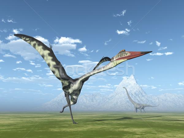 Számítógép generált 3d illusztráció dinoszaurusz hegy tudomány Stock fotó © MIRO3D