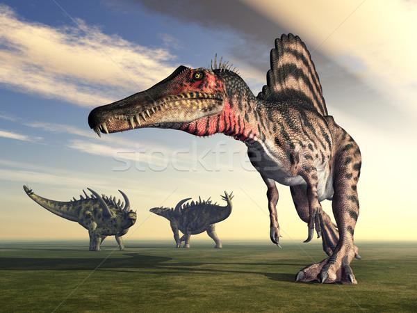 Spinosaurus and Gigantspinosaurus Stock photo © MIRO3D