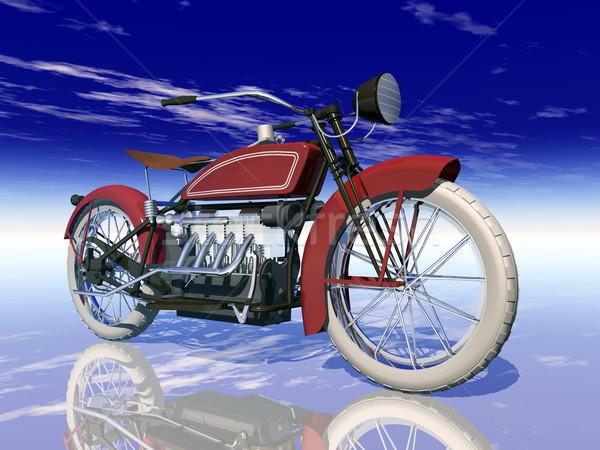Klassiek motorfiets computer gegenereerde 3d illustration amerikaanse Stockfoto © MIRO3D