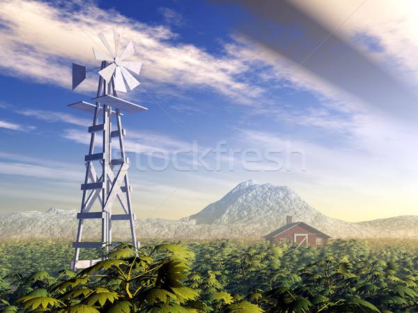 Foto stock: Occidental · molino · de · viento · ordenador · generado · 3d · montana