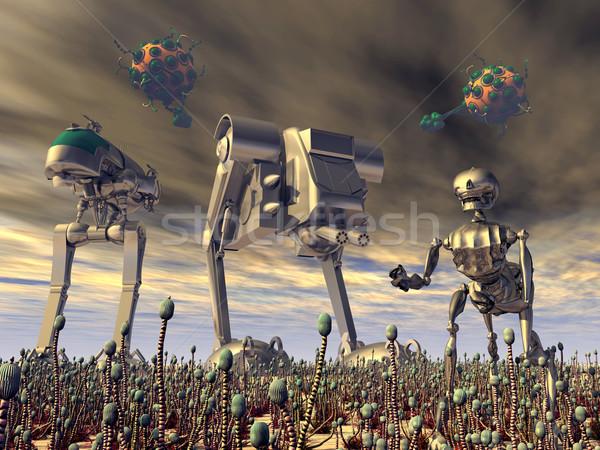 外国 攻撃 コンピュータ 生成された 3次元の図 ロボット ストックフォト © MIRO3D