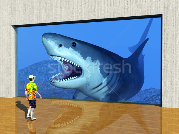 Wizyta akwarium komputera wygenerowany 3d ilustracji gość Zdjęcia stock © MIRO3D