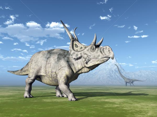 Diabloceratops and Mamenchisaurus Stock photo © MIRO3D