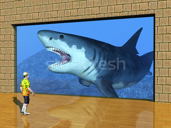Ziyaret akvaryum bilgisayar oluşturulan 3d illustration ziyaretçi Stok fotoğraf © MIRO3D