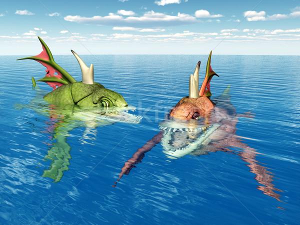 Deniz canavarlar bilgisayar oluşturulan 3d illustration iki Stok fotoğraf © MIRO3D