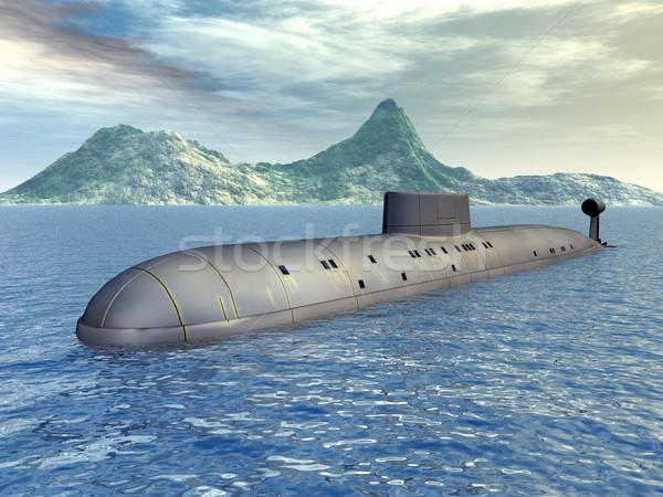 русский ядерной подводная лодка компьютер генерируется 3d иллюстрации Сток-фото © MIRO3D