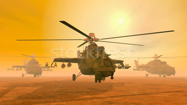 Soviet attack helicopters of the cold war Stock photo © MIRO3D