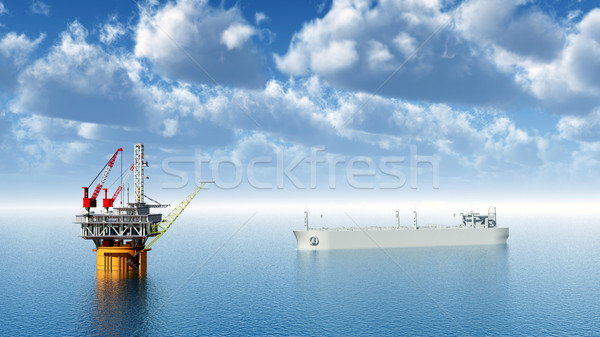 Oil Platform and Supertanker Stock photo © MIRO3D