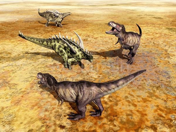 Gigantspinosaurus and Tyrannosaurus Rex Stock photo © MIRO3D