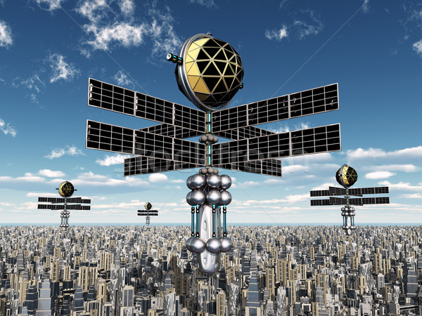Space Probes over a Megacity Stock photo © MIRO3D