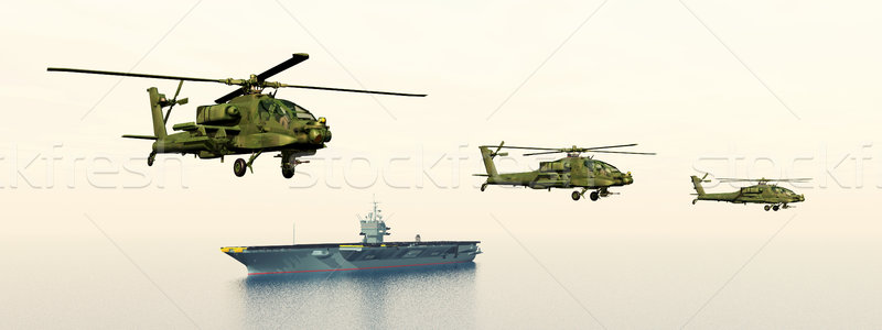 Apache Helicopters and Aircraft Carrier Stock photo © MIRO3D