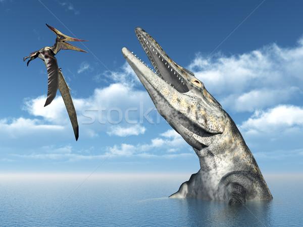 Pteranodon and Tylosaurus Stock photo © MIRO3D