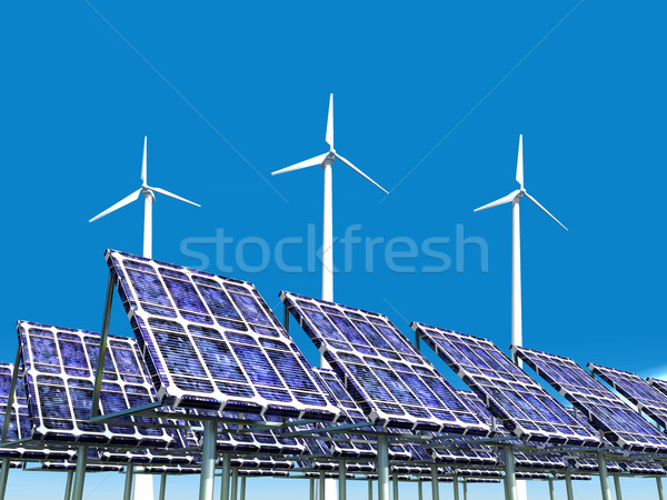 Solar Power Plant and Wind Farm Stock photo © MIRO3D