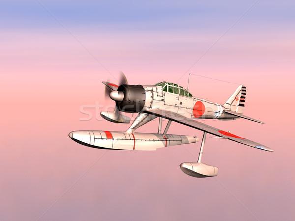 Японский истребитель компьютер генерируется 3d иллюстрации второй Сток-фото © MIRO3D