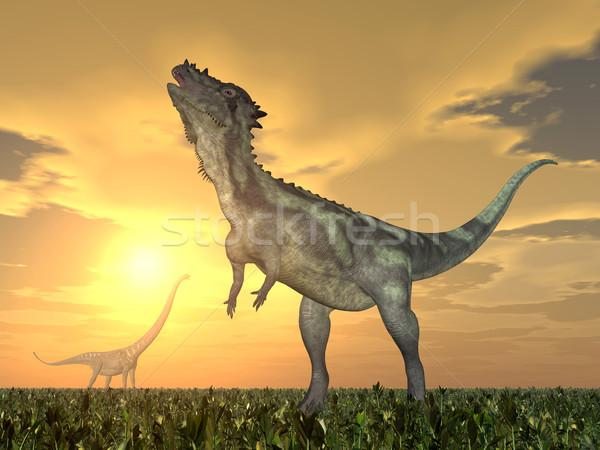 Pachycephalosaurus and Mamenchisaurus Stock photo © MIRO3D