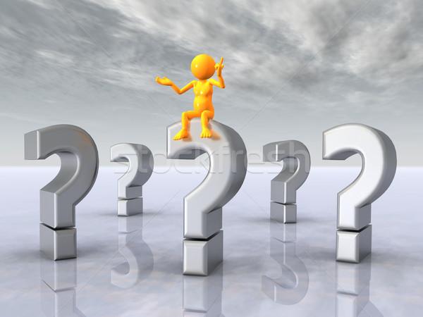 Punti interrogativi pensatore computer generato illustrazione 3d giallo Foto d'archivio © MIRO3D