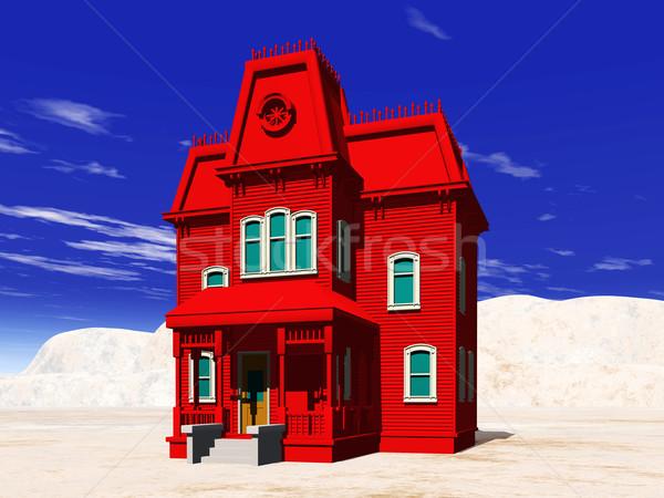 赤 家 コンピュータ 生成された 3次元の図 建物 ストックフォト © MIRO3D