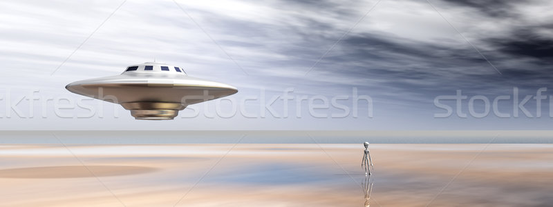 Spaceship and Alien in a Distant World Stock photo © MIRO3D