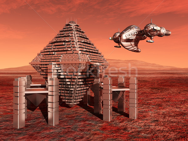 Mars with Space Station and Spacecraft Stock photo © MIRO3D