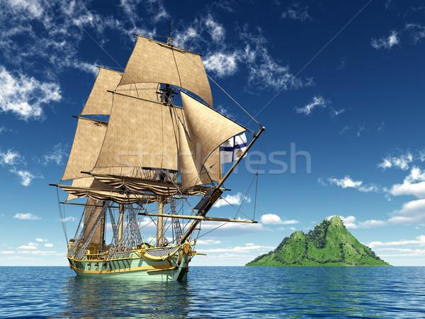 18-adik század számítógép generált 3d illusztráció hajó sziget Stock fotó © MIRO3D