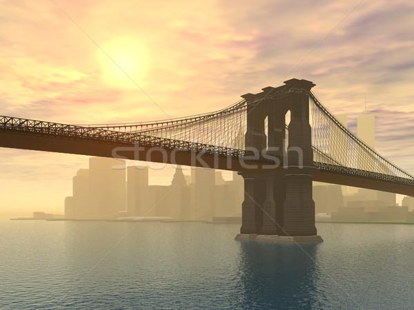 моста Нью-Йорк компьютер генерируется 3d иллюстрации закат Сток-фото © MIRO3D