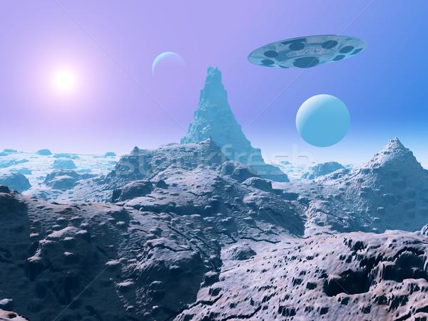 Statek kosmiczny świat komputera wygenerowany 3d ilustracji Zdjęcia stock © MIRO3D