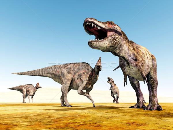 Számítógép generált 3d illusztráció dinoszauruszok sivatag tudomány Stock fotó © MIRO3D