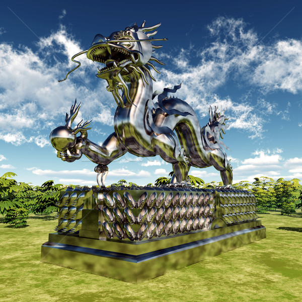 Çin ejderha heykel bilgisayar oluşturulan 3d illustration bulutlar Stok fotoğraf © MIRO3D
