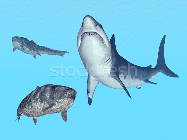 Great White Shark and Dunkleosteus Stock photo © MIRO3D