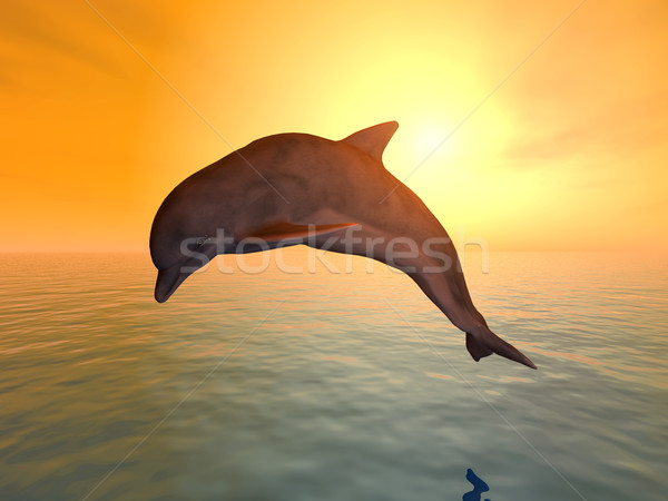 Skoki Delfin komputera wygenerowany 3d ilustracji wygaśnięcia Zdjęcia stock © MIRO3D
