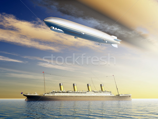 Ocean Liner and Airship Stock photo © MIRO3D