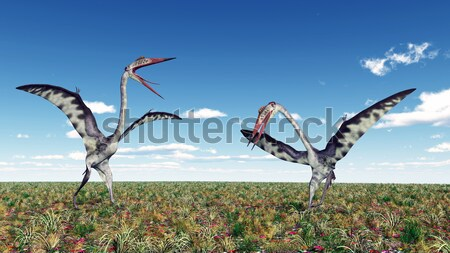 The Pterosaur Quetzalcoatlus and a reckless Tourist Stock photo © MIRO3D