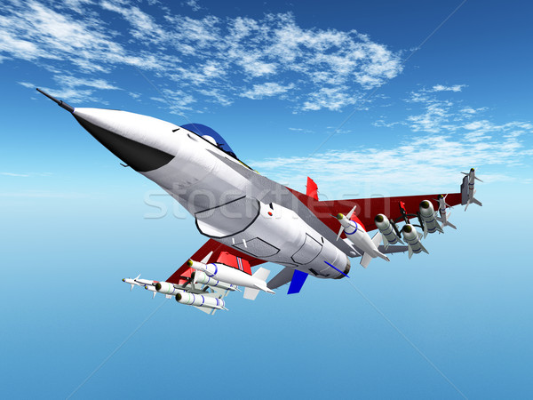 Nowoczesne myśliwiec samolotów komputera wygenerowany 3d ilustracji Zdjęcia stock © MIRO3D