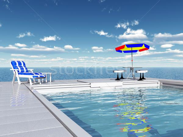 úszómedence számítógép generált 3d illusztráció tenger egészség Stock fotó © MIRO3D