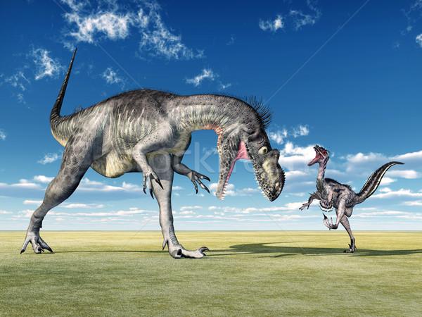 Megalosaurus and Velociraptor Stock photo © MIRO3D