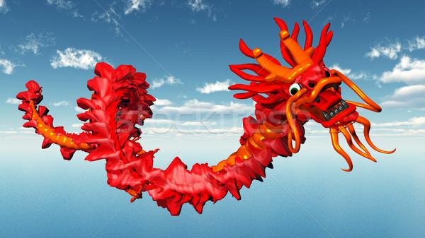Китайский дракон компьютер генерируется 3d иллюстрации облака океана Сток-фото © MIRO3D