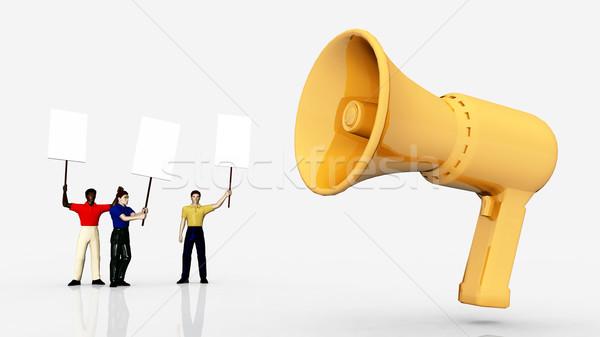 Demonstratie megafoon computer gegenereerde 3d illustration Geel Stockfoto © MIRO3D
