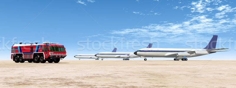 Airport Fire Truck and Airliners Stock photo © MIRO3D