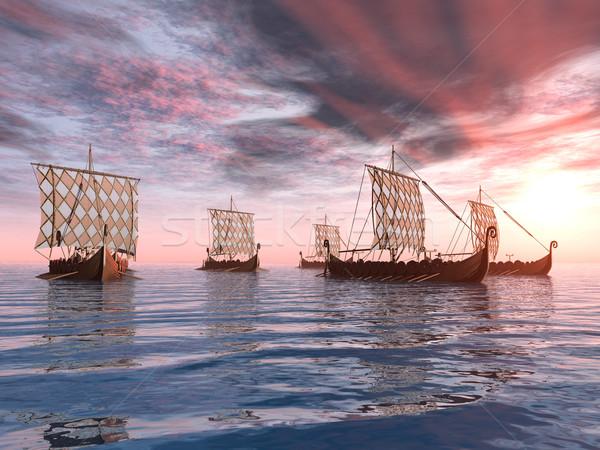 Viking hajók számítógép generált 3d illusztráció naplemente Stock fotó © MIRO3D