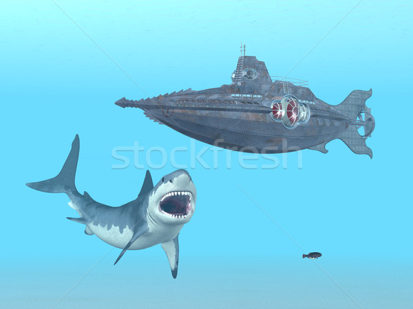 Nagyszerű fehér cápa tengeralattjáró számítógép generált Stock fotó © MIRO3D