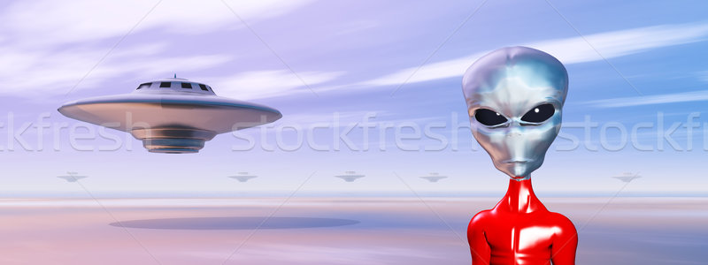 Spaceships and Alien in a Distant World Stock photo © MIRO3D