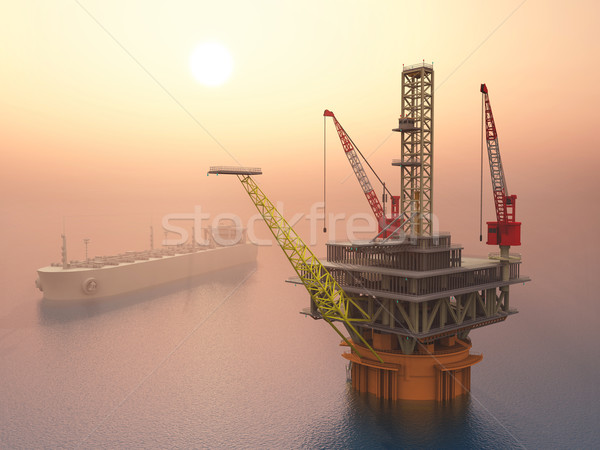 Supertanker and Oil Platform Stock photo © MIRO3D