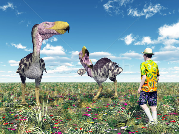 Terror Bird Kelenken and Tourist Stock photo © MIRO3D