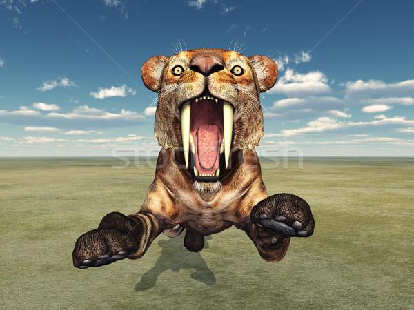 Bilgisayar oluşturulan 3d illustration kedi bilim kaplan Stok fotoğraf © MIRO3D
